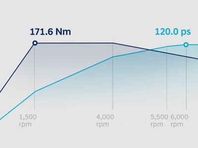 Graph showing the torque and power curves of the all-new BAYON's 1.0 litre T-GDi petrol engine