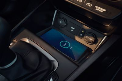 The conveniently located wireless charging pad in the centre console of the new Hyundai Kona.