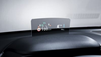 The Head-up display (HUD) in the new Hyundai Kona projecting important informations into your sight.